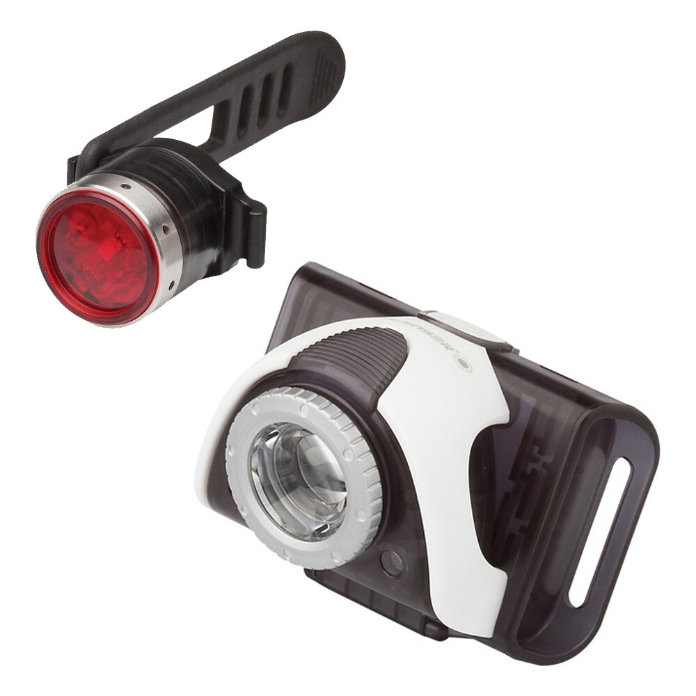LedLenser B5R gray and red back SEO B2R Bikelight lamp set