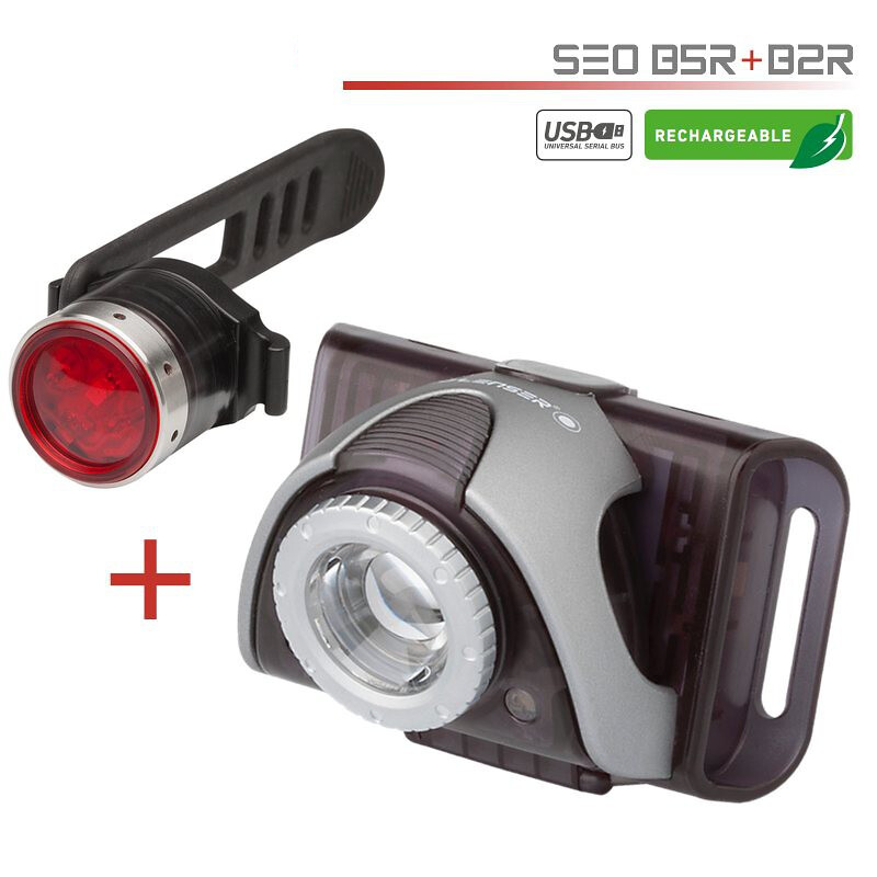LedLenser B5R gray with red back SEO B2R Bikelight lamp set